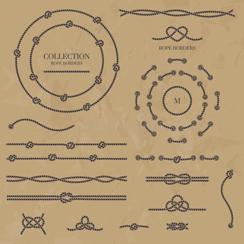 Sammlung Seilknoten Seilrahmen, -grenzen und -knoten lizenzfreie abbildung