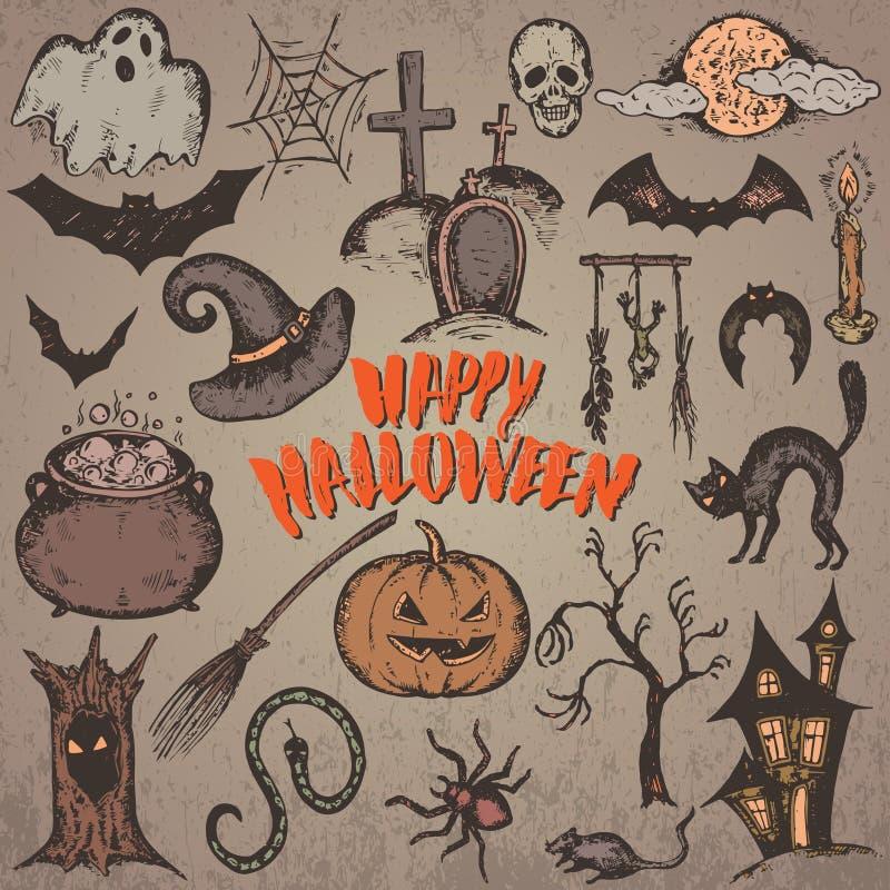 Sammlung Skizze Halloween-Charaktere lizenzfreie abbildung