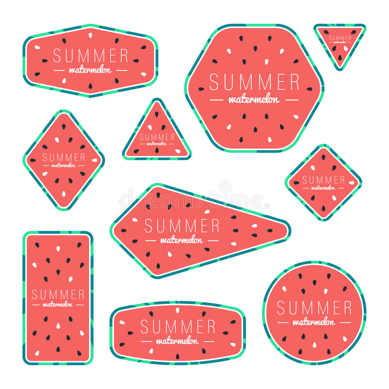 Sammlung Sommerwassermelonenkarten lizenzfreies stockbild