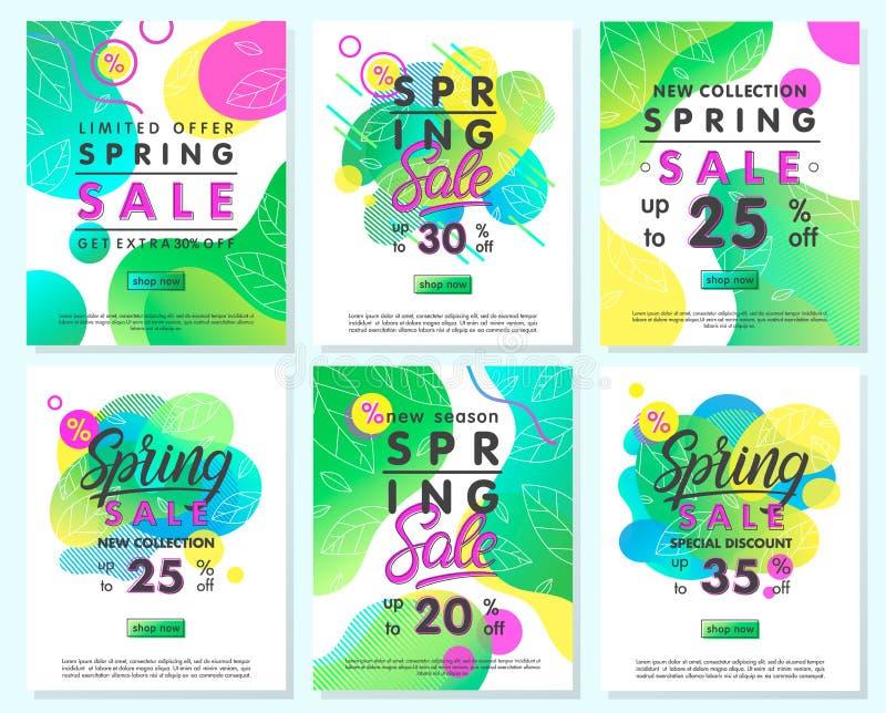 Sammlung Sonderangebotfahnen des Frühlinges stock abbildung