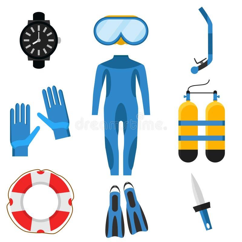 Sammlung Sporttauchen Taucher Wetsuit, Unterwasseratemgerätmaske, Schnorchel, Flossen, Sauerstoff-Flaschen, Rettungsring, Flipper lizenzfreie abbildung