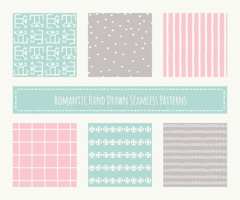Sammlung Stammes- nahtlose Muster mit veralteter geometrischer Verzierung stock abbildung