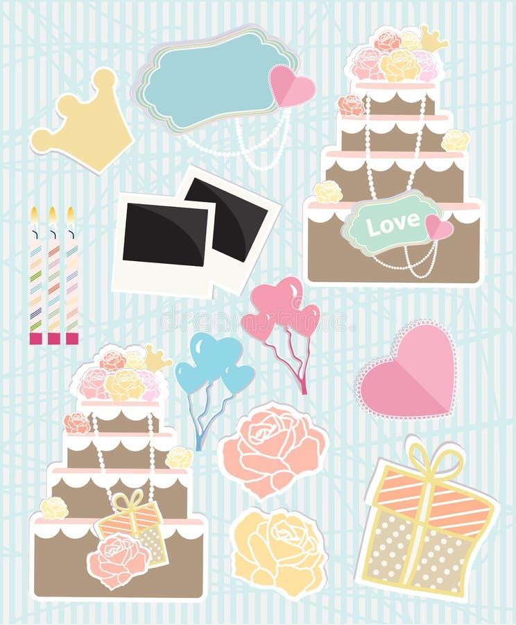 Sammlung themenorientierte Gegenstände der Liebe stock abbildung