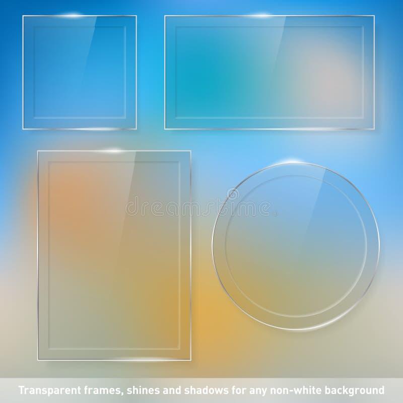 Sammlung transparente Glasrahmen lizenzfreie abbildung