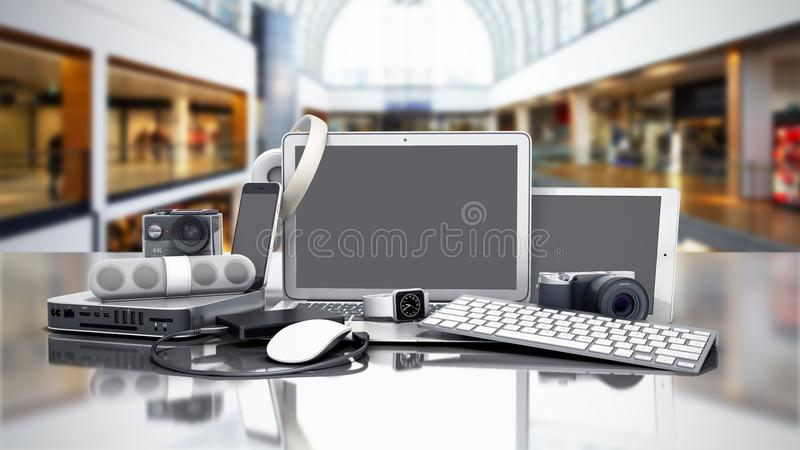 Sammlung Unterhaltungselektronik 3D übertragen im Verkauf Hintergrund stock abbildung