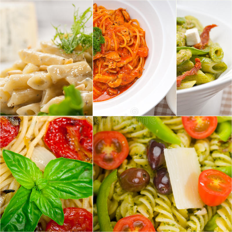 Sammlung unterschiedliche Art der italienischen Teigwarencollage stockbild