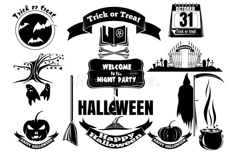 Sammlung Vektorikonen im Schwarzen für Halloween stock abbildung