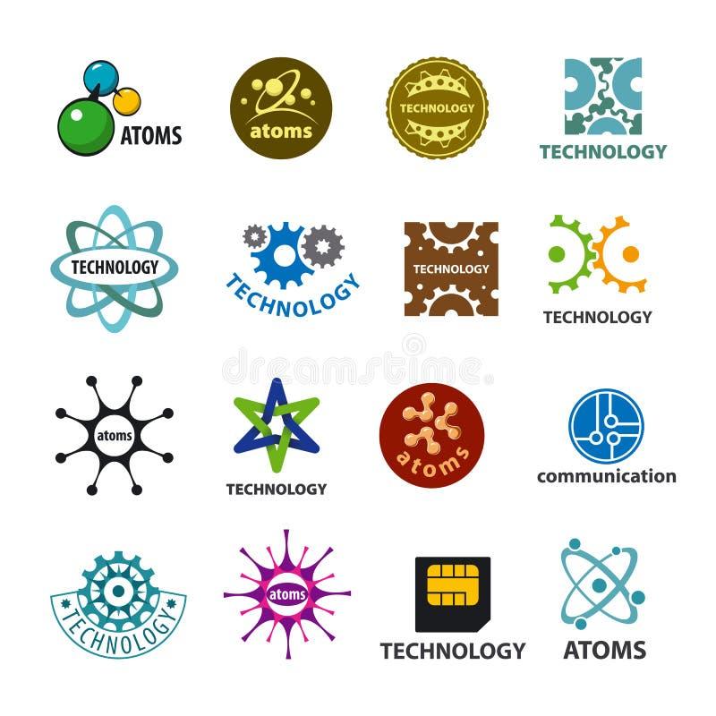 Sammlung Vektorlogotechnologie und -atome stock abbildung