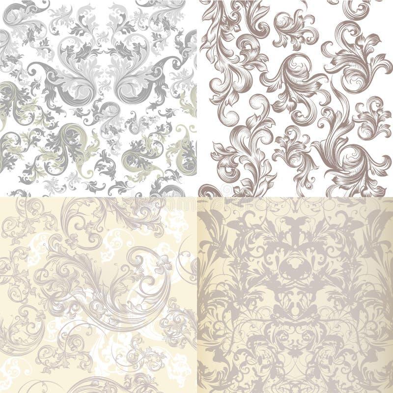 Sammlung Vektormuster in den hellen Farben mit viktorianischem swi lizenzfreie abbildung