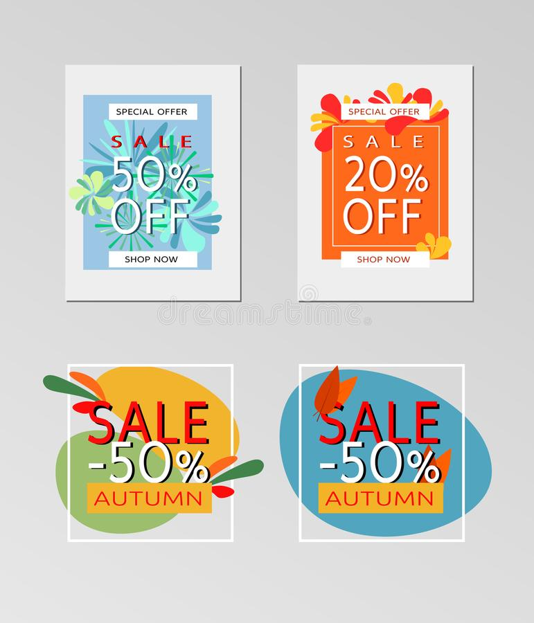 Sammlung Verkaufsherbstfahnen stockbilder