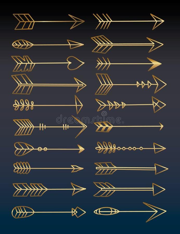 Sammlung verschiedene goldene Vektorpfeilzeichnungen stock abbildung