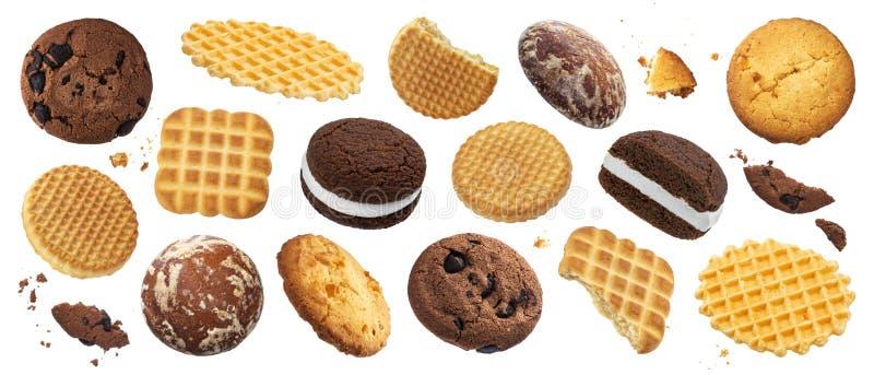 Sammlung verschiedene Kuchen, Plätzchen, Cracker, Waffeln lokalisiert auf weißem Hintergrund lizenzfreie stockbilder