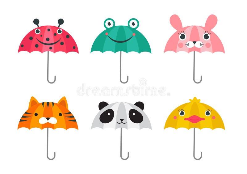 Sammlung verschiedene nette Regenschirme mit Tieren stellt Entwurf gegenüber Lustige Gesichter des Pandas, des Frosches, des Mari stock abbildung