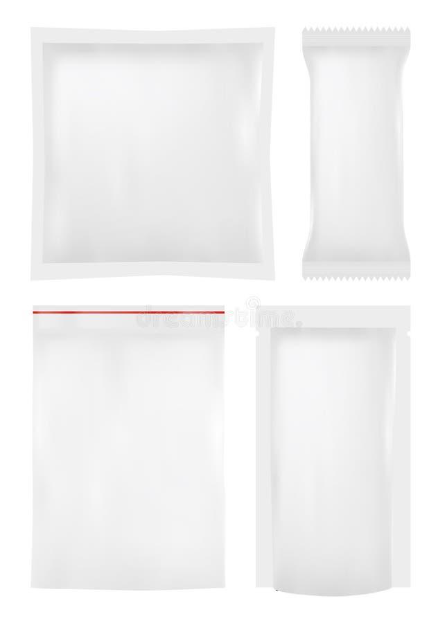 Sammlung verschiedene Plastiktaschen auf Weiß lizenzfreie abbildung