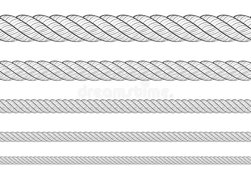 Sammlung verschiedene Seilschnur auf weißem Hintergrund Jedes wird separat geschossen Beschaffenheitsmuster nahtloses wiederholen lizenzfreie abbildung