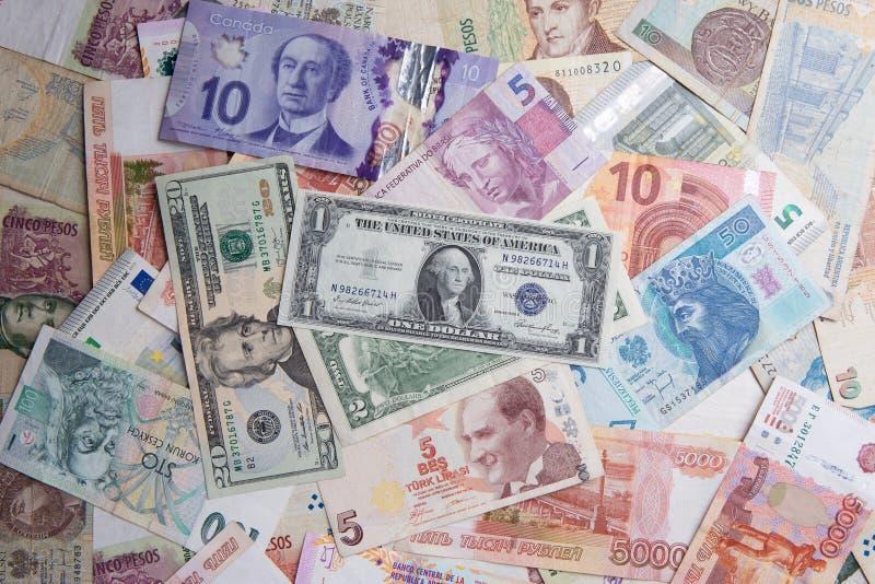 Sammlung verschiedene Weltwährungsgeld-Banknotenrechnungen lizenzfreie stockfotos