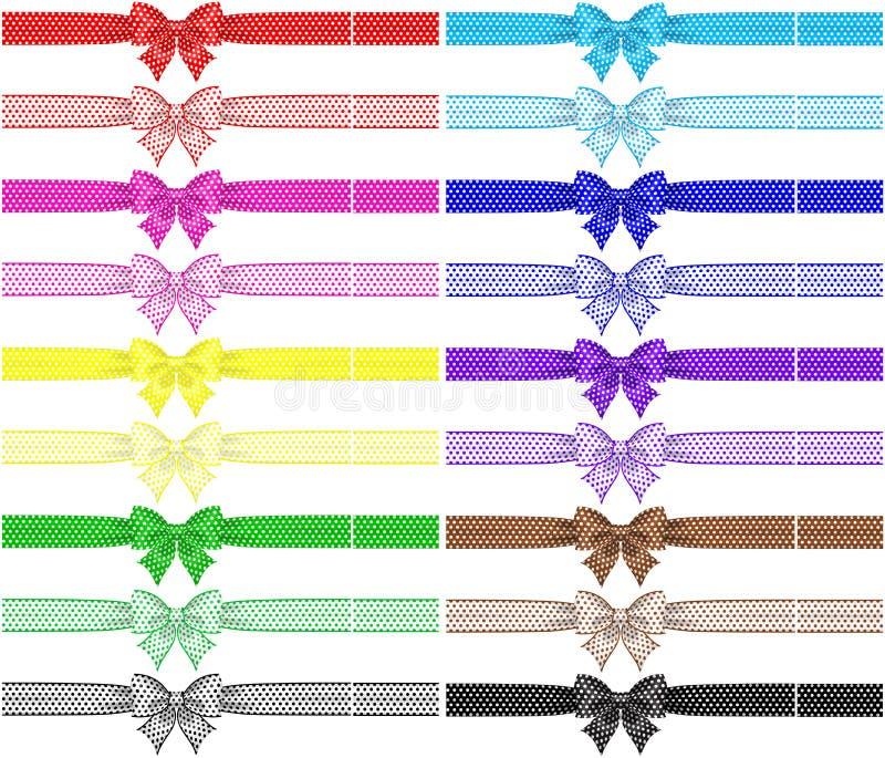 Sammlung von achtzehn Tupfenbögen mit Bändern stock abbildung