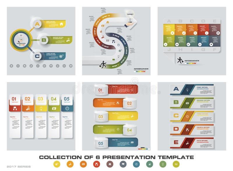 Sammlung von 6 bunten Darstellungsschablonen des Designs EPS10 Satz infographics Designvektor- und -geschäftsikonen stock abbildung