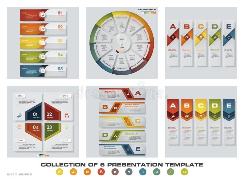 Sammlung von 6 bunten Darstellungsschablonen des Designs EPS10 Satz infographics Designvektor- und -geschäftsikonen lizenzfreie abbildung