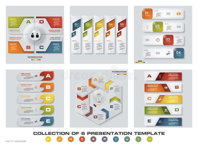 Sammlung von 6 bunten Darstellungsschablonen des Designs EPS10 Satz infographics Designvektor- und -geschäftsikonen vektor abbildung