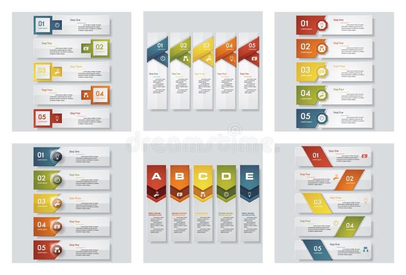 Sammlung von 6 bunten Darstellungsschablonen des Designs Es kann für Leistung der Planungsarbeit notwendig sein lizenzfreie abbildung