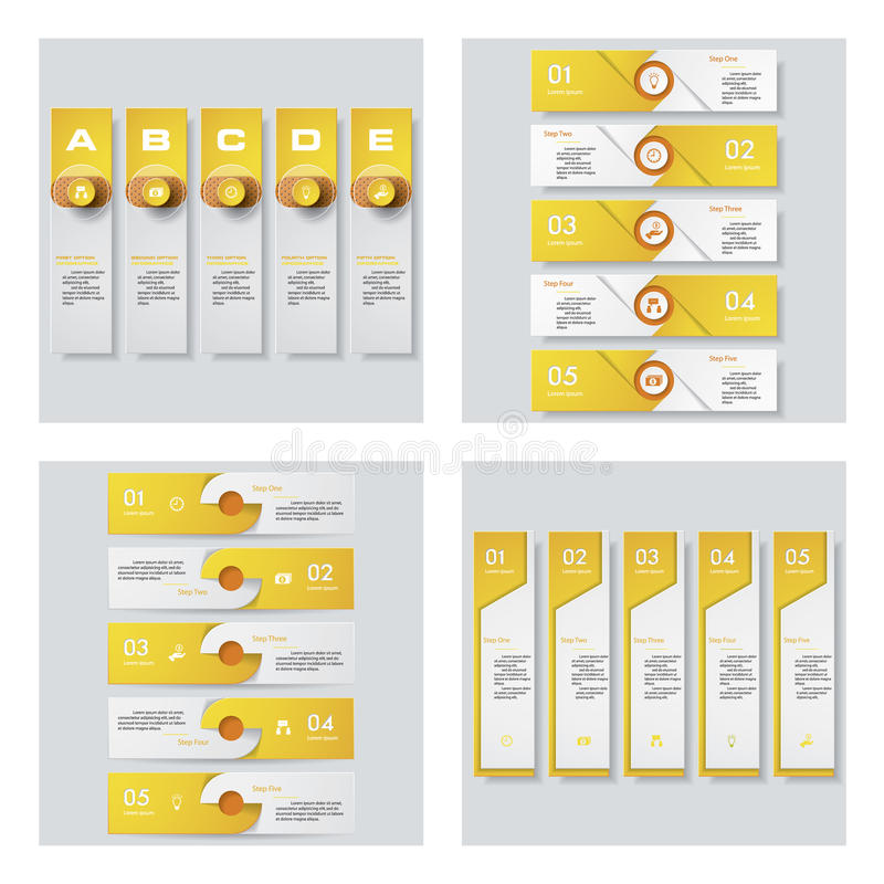 Sammlung von 4 gelbem Farbschablonen-/-graphik- oder -websiteplan Es kann für Leistung der Planungsarbeit notwendig sein lizenzfreie abbildung