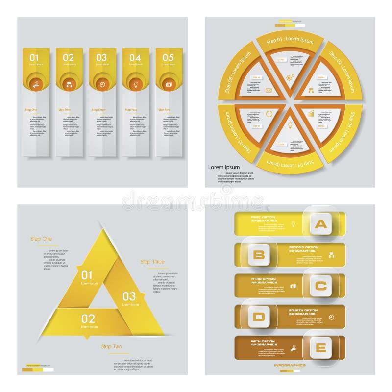Sammlung von 4 gelbem Farbschablonen-/-graphik- oder -websiteplan Es kann für Leistung der Planungsarbeit notwendig sein stock abbildung