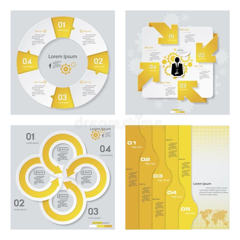 Sammlung von 4 gelbem Farbschablonen-/-graphik- oder -websiteplan Es kann für Leistung der Planungsarbeit notwendig sein vektor abbildung