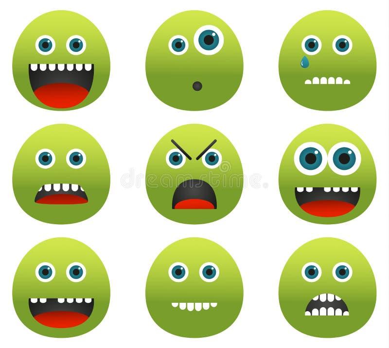 Sammlung von 9 grünen Monster Emoticons lizenzfreie abbildung