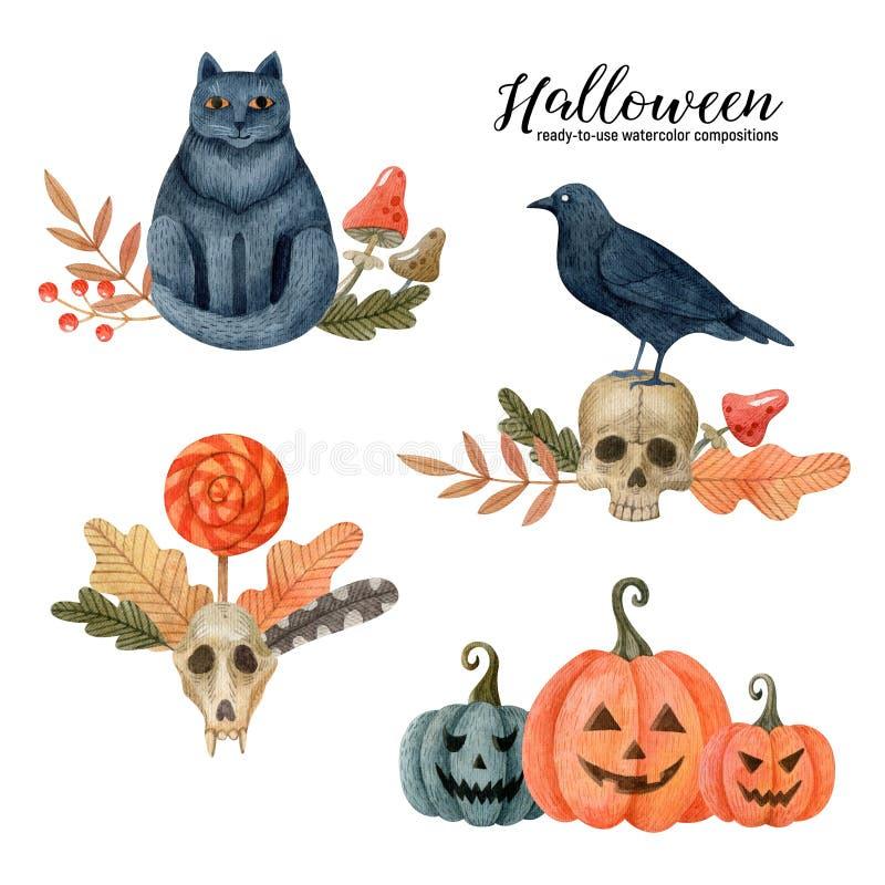 Sammlung von Halloween fertigen Kompositionen mit traditionellen Urlaubssymbolen stockfotografie