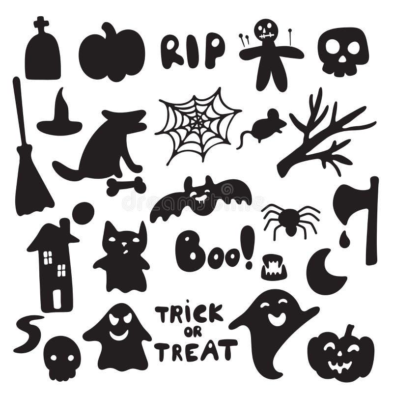 Sammlung von Halloween silhouettiert Ikone und Charakter Hexen-, gruselige und gespenstischeelemente für Halloween-Dekorationen stock abbildung