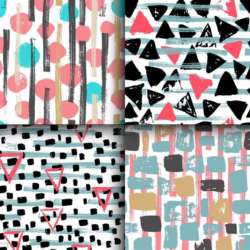 Sammlung von 4 Hand gezeichneten nahtlosen geometrischen Mustern lizenzfreie abbildung