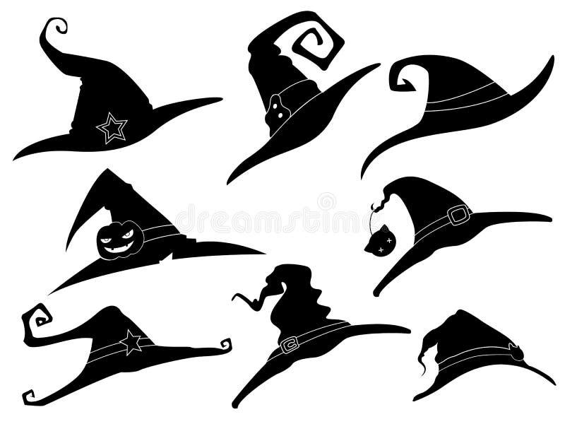 Sammlung von 8 Hexenhut-Halloween-Ikonen lizenzfreie abbildung