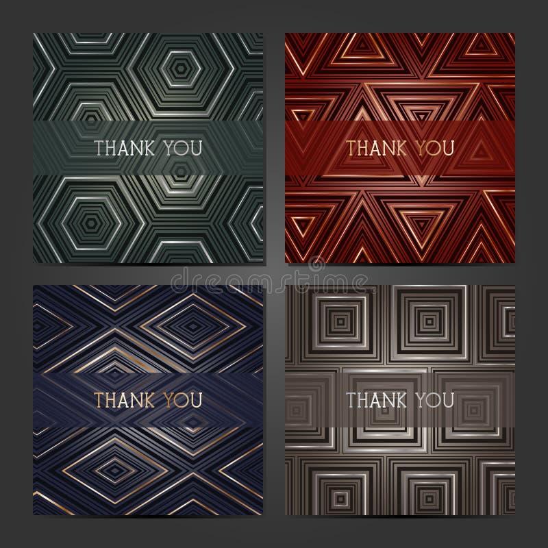 Sammlung von 4 Kartenschablonen mit geometrischem Muster Für die Hochzeit speichern Heirat, die Datumskarten, Einladungen, Grüße stock abbildung