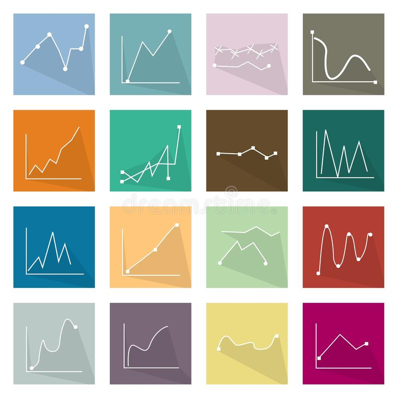 Sammlung von 16 Linie Diagramm-Ikonen-Fahne vektor abbildung