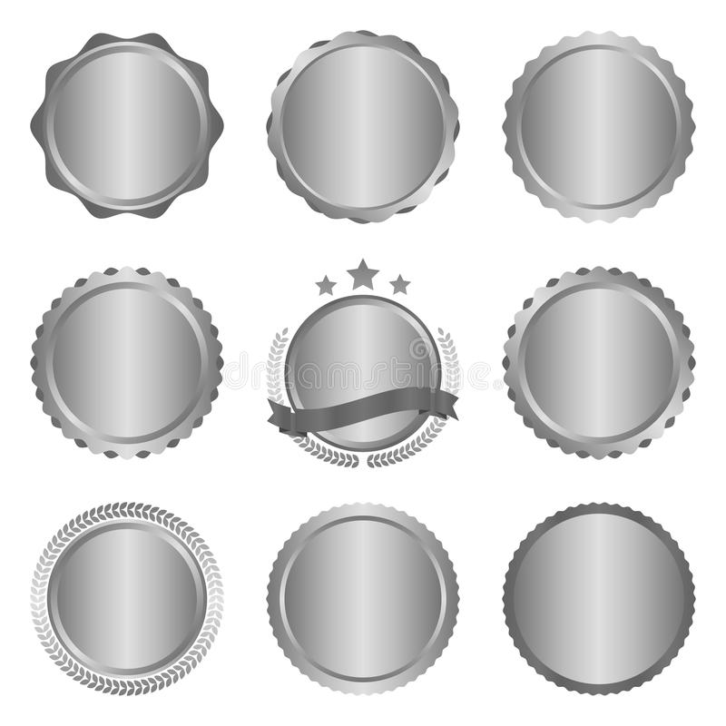 Sammlung von modernem, asphaltieren silbernes Kreismetall deutlich wird, Aufkleber und Gestaltungselemente Auch im corel abgehobe vektor abbildung