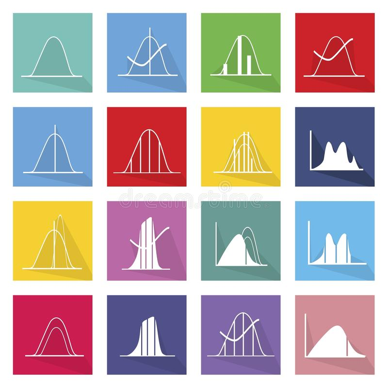Sammlung von 16 Normalverteilungskurven-Ikonen vektor abbildung