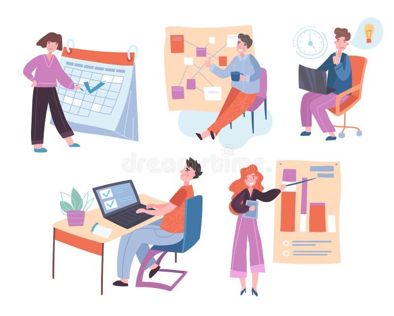 Sammlung von Personen, die ihre Aufgaben und Termine erfolgreich organisieren lizenzfreie abbildung