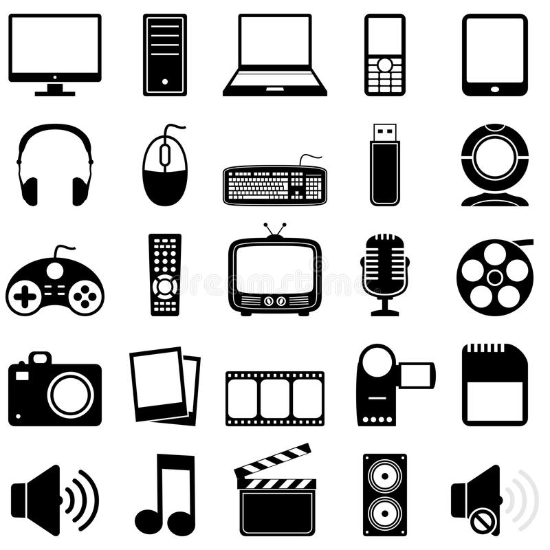 Multimedia schwarz u. weiße Ikonen vektor abbildung