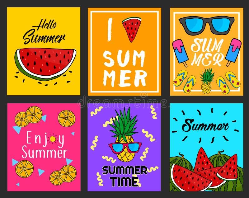 Sammlung von sechs hellem Sommer-Karten-Plakat-Plan-Vektor-Design vektor abbildung