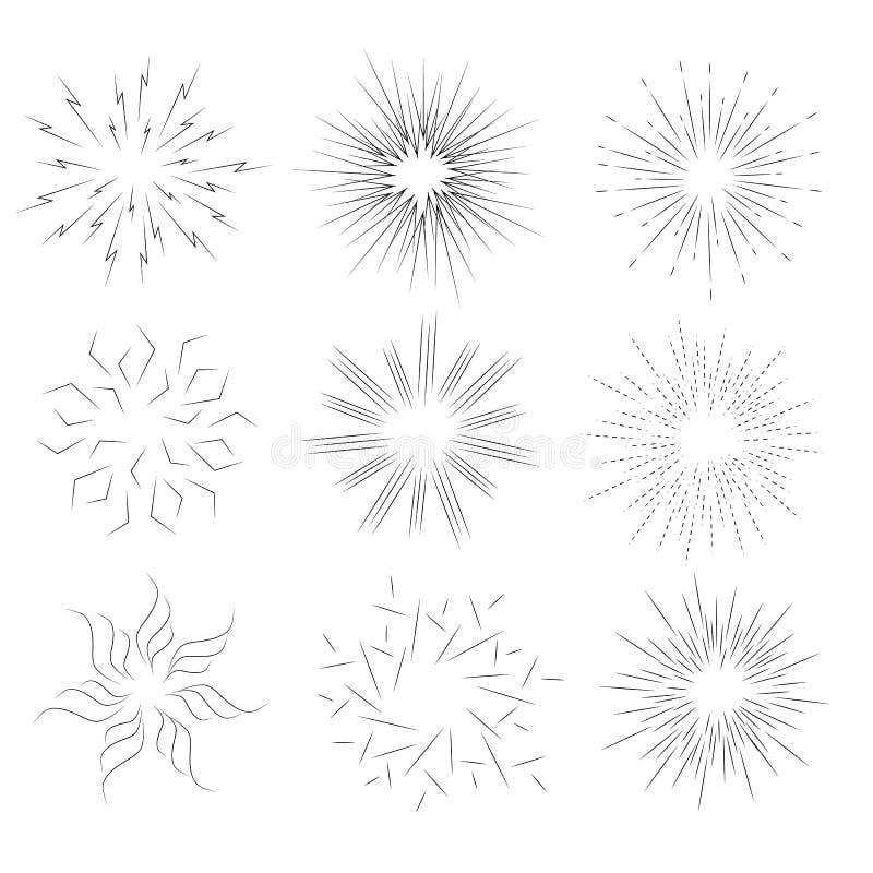 Sammlung von Sonnendurchbruch Satz Elementen für Design Strahlnschwarzes vektor abbildung