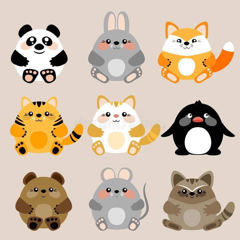 Sammlung von 6 Vektor netten kawaii Babytieren vektor abbildung