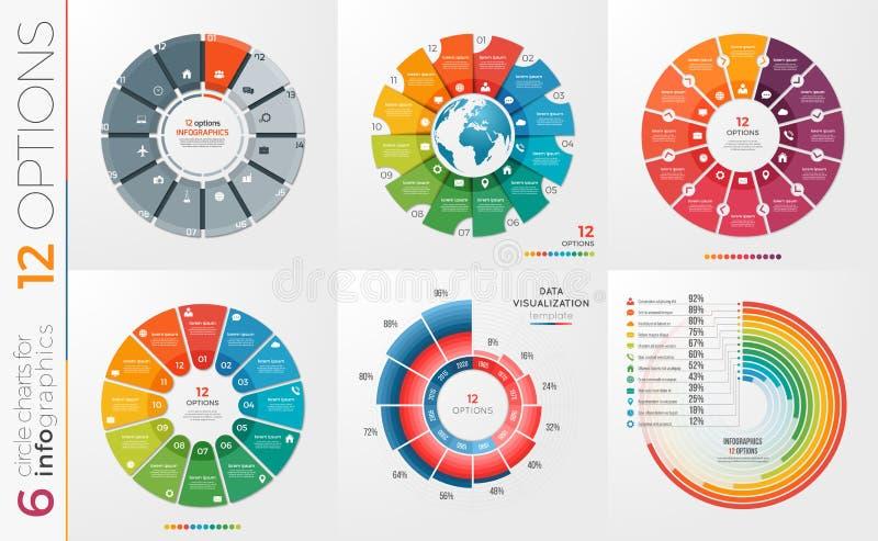 Sammlung von 6 Vektorkreis-Diagrammschablonen 12 Wahlen lizenzfreie abbildung