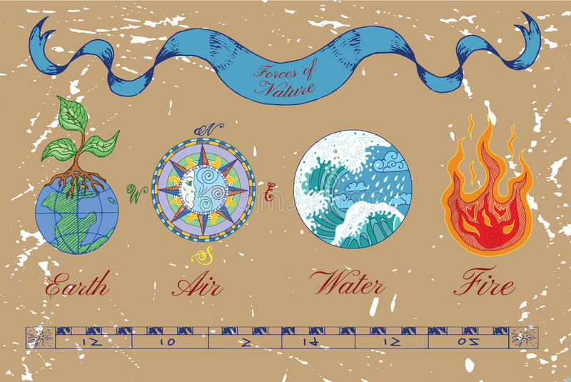 Sammlung von vier bunten natürlichen Elementen lizenzfreie abbildung