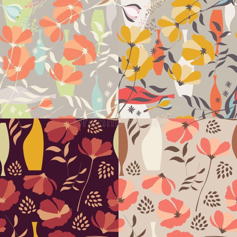 Sammlung von vier nahtlosen Mustern des Vektors mit Florenelementen stock abbildung