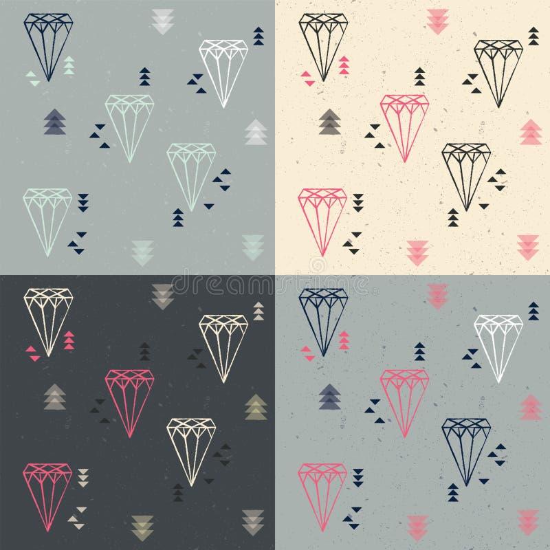 Sammlung von vier nahtlosen Mustern mit geometrischen Diamanten und vektor abbildung