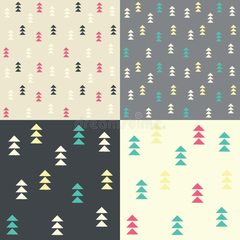 Sammlung von vier nahtlosen Mustern mit geometrischen Dreiecken vektor abbildung