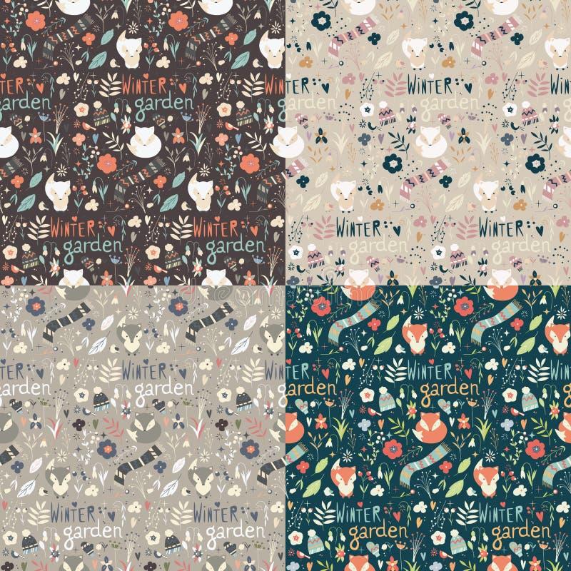 Sammlung von vier nahtlosen Mustern mit Wintergarten blüht, vektor abbildung