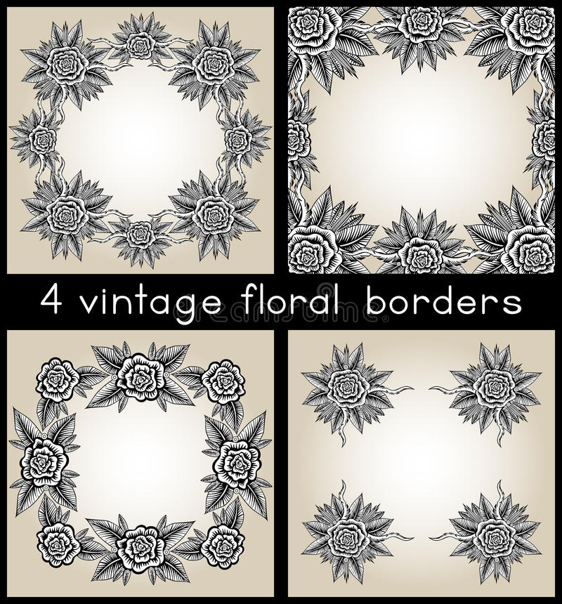 Sammlung von vier Weinlese-Rahmen mit Rosen lizenzfreie abbildung