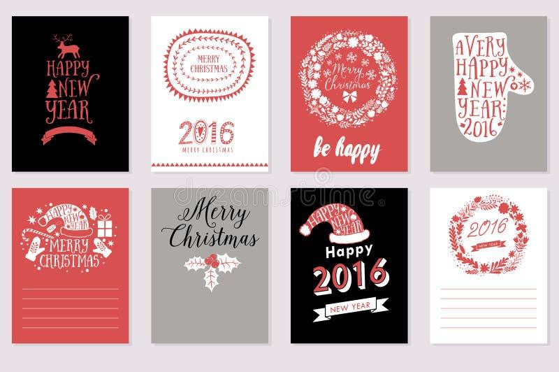 Sammlung von 8 Weihnachtsvektor-Kartenschablonen Kalligraphische Aufkleber der frohen Weihnachten und des guten Rutsch ins Neue J lizenzfreie abbildung